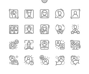 People avatar Well-crafted Pixel Perfect Vector Thin Line Icons 30 2x Grid for Web Graphics and Apps. Simple Minimal Pictogram