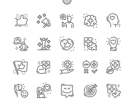 Positive thinking Well-crafted Pixel Perfect Vector Thin Line Icons 30 2x Grid for Web Graphics and Apps. Simple Minimal Pictogram