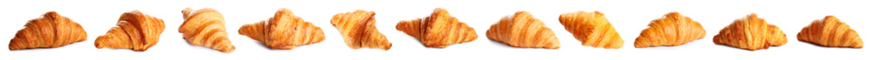 Set of delicious fresh baked croissants on white background, banner design. French pastry