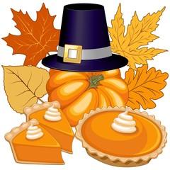 In de dag Draw Halloween Thanksgiving Pumpkin pie Holidays Composition Vector Illustration