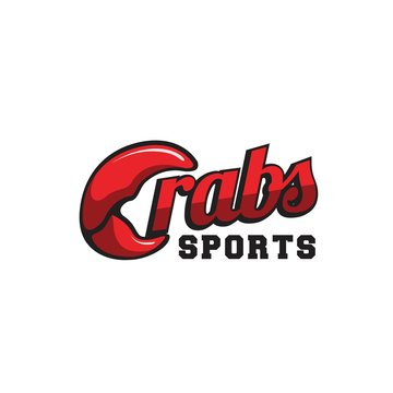 Playful crabs sport logotype design with crab claw illustration