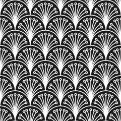 Seamless inverse black and white art deco floral peacock outline rococo pattern vector