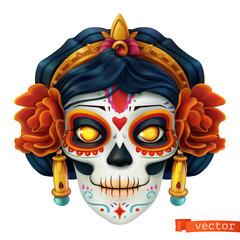 Day of the dead. Dia de los muertos. Skull, woman 3d vector icon
