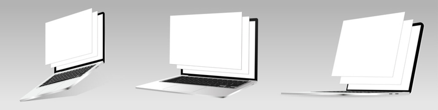 Responsive laptop screen mockup. Set 3D realistic notebooks with blank framework web pages. Isometric view and perspective. Vector Laptops for responsive web-design or showing screenshots. Vector set