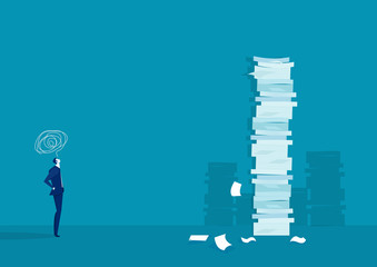 businessman think and solution with very tall paper stack vs man on blue background Fototapete