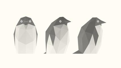 Light Penguin. Set of Isolated White Penguins on White Background. Low Poly Vector 3D Rendering