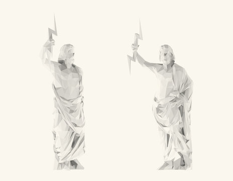 Light Zeus. Set of Isolated White Zeus on White Background. Low Poly Vector 3D Rendering