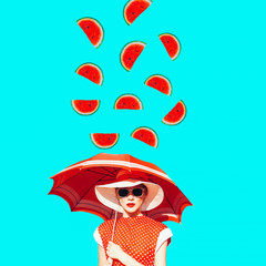 Contemporary art collage. Lady vintage and watermelon rain