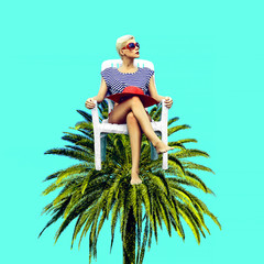 Contemporary art collage. Vacation summer mood