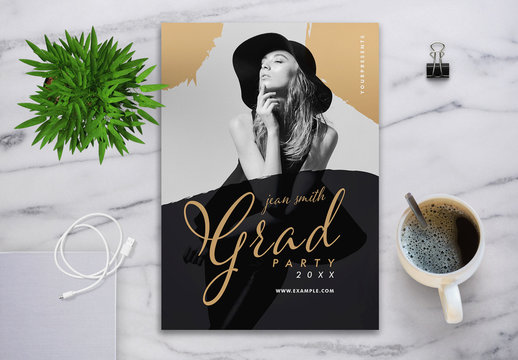Graduation Invitation Layout with Gold Accents