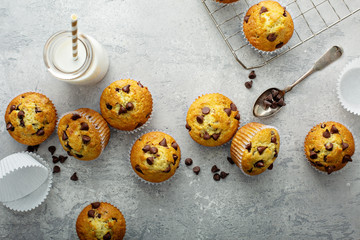 Chocolate chip muffins with milk overhead view