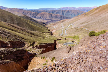 High view of the Quebrada de Humahuaca, a multicolour mountian chain in northern province of Jujuy, a UNESCO Heritage site of Argentina.