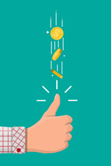 Hand of businessman tossing golden dollar coin. Decision making by chance with coin. Excitement, luck, fortune. Vector illustration in flat style