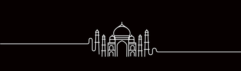 Taj Mahal Hand Drawn, India Agra - Line art vector illustration. Wall mural