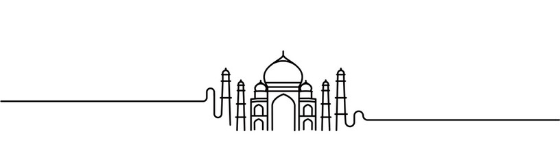 Taj Mahal Hand Drawn, India Agra - Line art vector illustration. Fotomurales