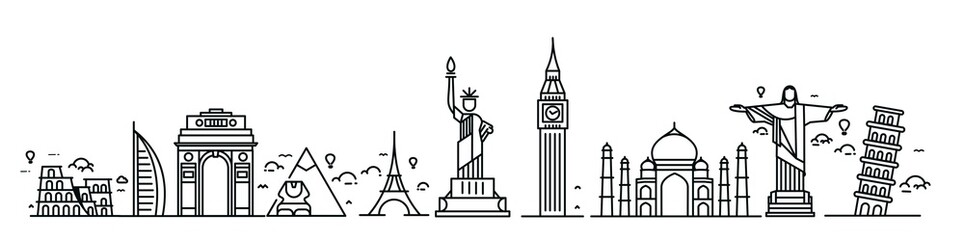 Travel the world monument concept - Vector Flat Line Art Design.