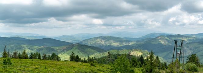 Wall Mural - Panoramic views from top of Velka Raca peak in Kysucke Beskydy mountains in northern Slovakia