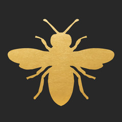 Golden Honey Bee Shape On Black Background. Vector Silhouette.