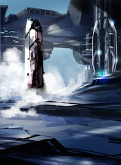 Space rocket launching from futuristic space port - Digital painting - Science Fiction concept