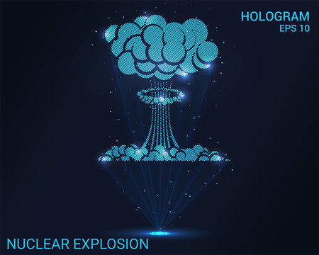 A hologram of a nuclear explosion. A holographic projection of a nuclear bomb. Flickering energy flux of particles. Scientific military design.