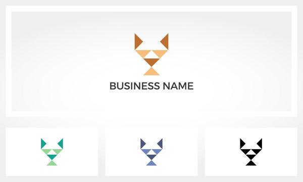 Dog Head From Triangles Shape Logo
