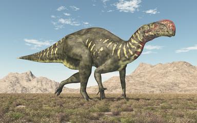 Dinosaurier Altirhinus in einer Landschaft