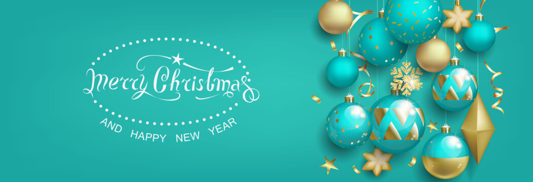Christmas greeting card with balls on turquoise background
