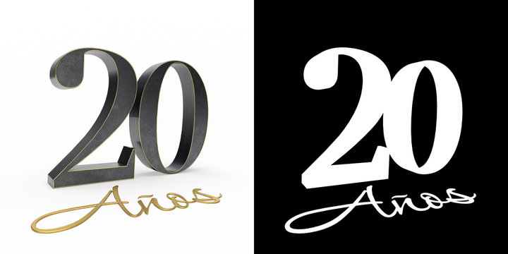 Inscription in Spanish. Golden number 20 years
