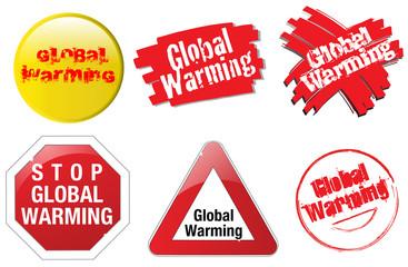 set of six buttons make global warming subject of an worldwide crisis.