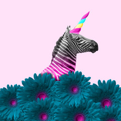 Dreaming about being better. An alternative zebra like a unicorn in blue flowers on pink...