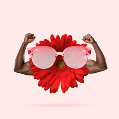 Healthy eating anf lifestyle, flower with human male hands on pink background. Negative space to...