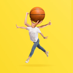 Summer emotions. Human body headed by the ball on yellow background. Negative space to insert your text. Modern design. Contemporary art. Creative conceptual and colorful collage.