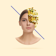 Growing an idea, fresh thoughts. Female face with the flowers on yellow background. Negative space to insert your text. Modern design. Contemporary art. Creative conceptual and colorful collage.