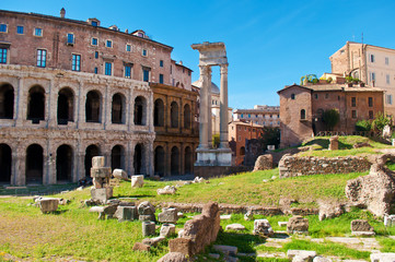 View of many stones and ruins before Temple of Apollo Medicus Sosianus and Teatro Marcello
