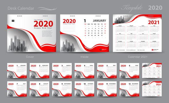 Set Desk Calendar 2020 template vector, Calendar 2021-2022, cover design, Set of 12 Months, Week starts Sunday, Stationery design, flyer layout, planner, printing media, red background, advertisement