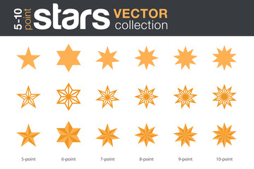 Stars Shapes Silhouettes Vector collection. 5, 6, 7, 8, 9, 10-point stars in three styles.