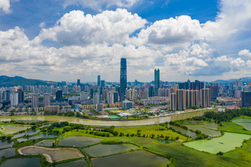 Aerial view of Shenzhen in China
