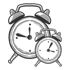 Alarm clock, analog watches. Vector in doodle and sketch style.