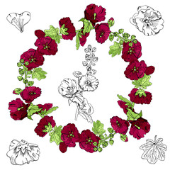 Set with wreath,  bouquet and single flowers of burgundy mallow and green leaves. Hand drawn monochrome and colored sketch isolated on white background.