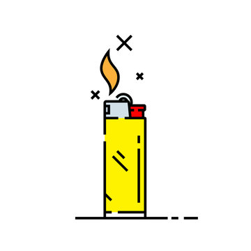 Cigarette lighter line icon. Yellow lighter symbol with flame and spark. Vector illustration.
