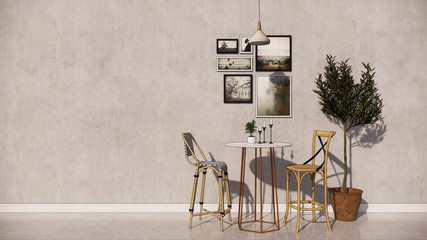 Interior wallpeper design room  with white table and chairs concept 3D illustration