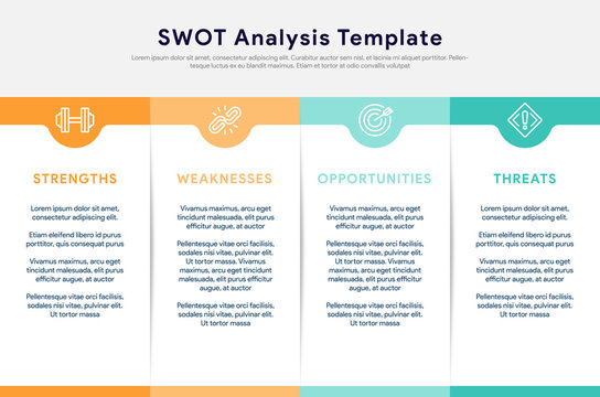 Four colorful elements with text placed inside table. Concept of SWOT-analysis template or strategic planning technique. Infographic design template. Vector illustration.