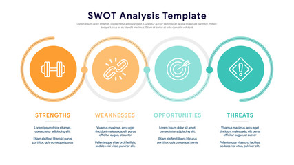 Four colorful elements with text inside placed beside the element. Concept of SWOT-analysis template or strategic planning technique. Infographic design template. Vector illustration.