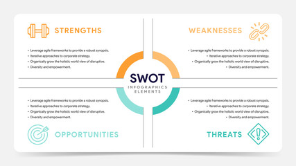 Four colorful elements with text inside placed around circle. Concept of SWOT-analysis template or strategic planning technique. Infographic design template. Vector illustration.