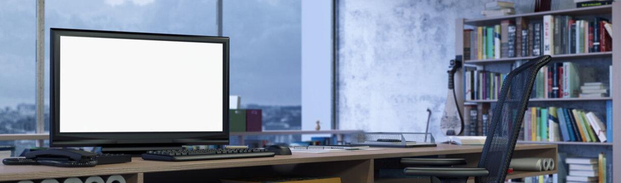 Panorama Banner von Büro mit Monitor