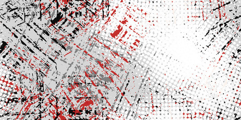 Grunge background black, white, red. Abstract seamless vector texture.