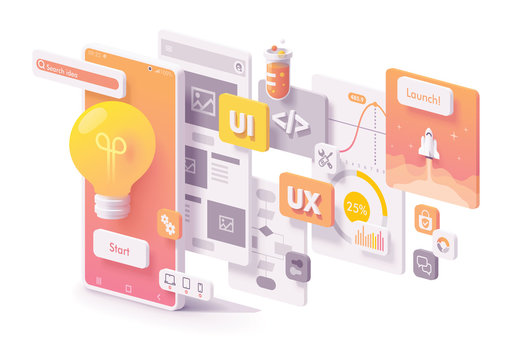 Vector mobile app development concept