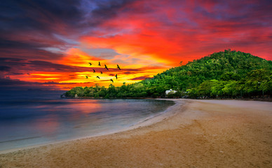 Kep Beach on the sunset isolation background look really beautiful time, Kingdom of Cambodia. Wall mural