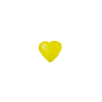 Watercolor hand painted yellow heart shape design element. Yellow heart background. Hand drawing illustration on watercolor paper