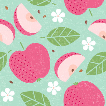 Seamless pattern. Red apple juicy fruits leaves and flowers on shabby background. Sliced fruit. Cut apples.